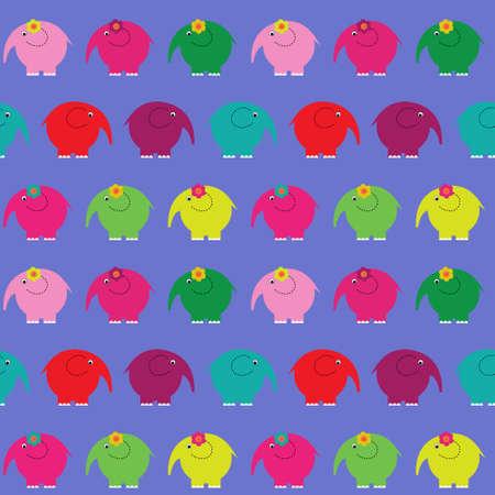 Cute seamless pattern with a little cartoon elephants Illustration