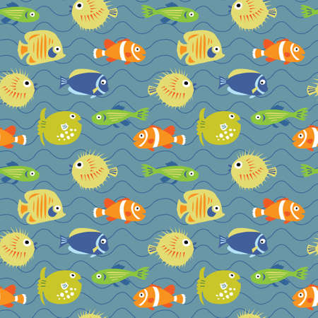 Cute seamless background with a tropical fish on waves