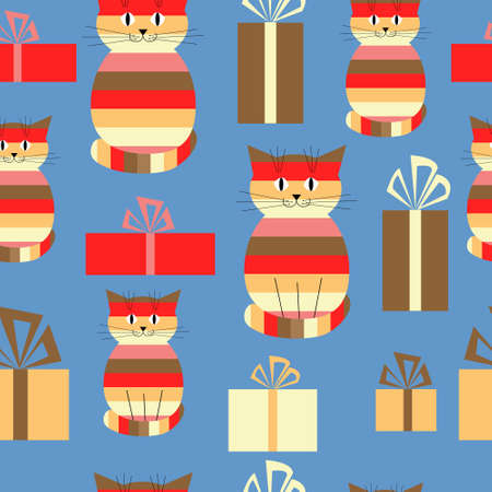 stripy: Festive greeting seamless background with a cute cats and gifts