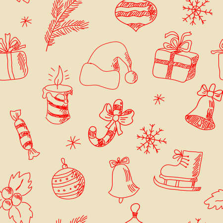 christmas postcard: Seamless texture with a hand-painted New Year elements Illustration