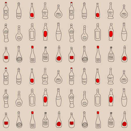 Texture with a set of a stylized bottles.