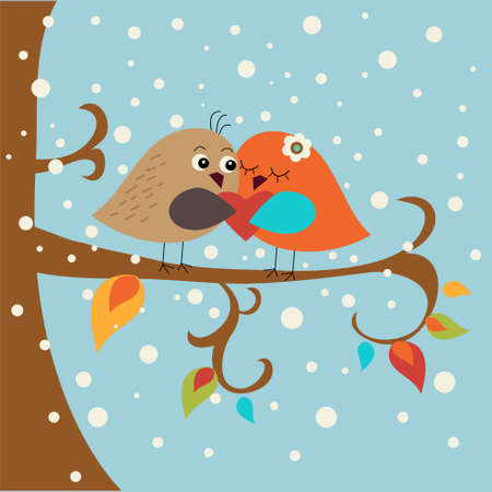 Festive greeting card with a cute love birds