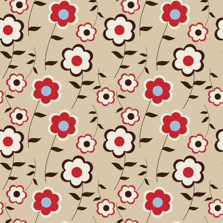 Stylish floral pattern on  beige background Ilustrace