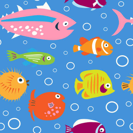 Cute children's pattern with a decorative tropical fish Vectores