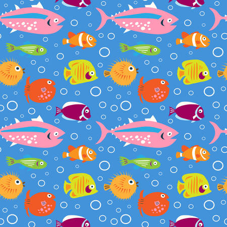 Seamless decorative cute pattern with a multi-colored fishes