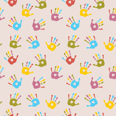 Seamless cheerful pattern with a multi-colored palm prints Illustration