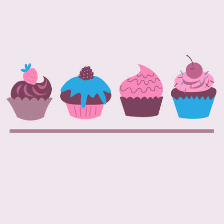 Set of cute decorative cupcakes with a berries