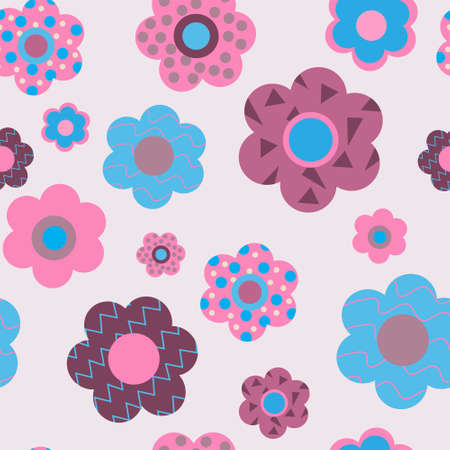 Cute floral seamless pattern of a decorative flowers Vector illustration.