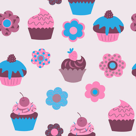 Seamless background of cute cupcakes with flowers 向量圖像