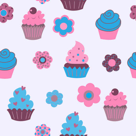 A Seamless background of cute decorative cupcakes with a flowers
