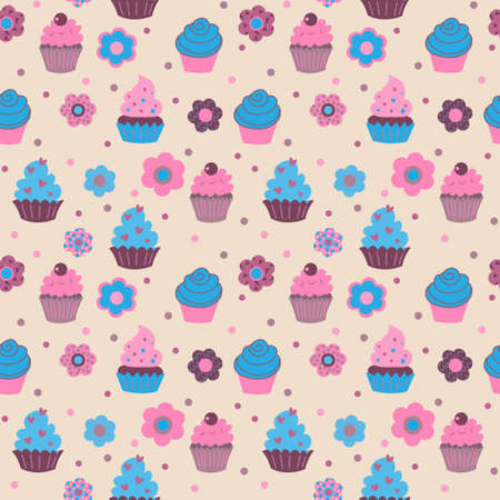 Seamless pattern from cute decorative cupcakes with a flowers