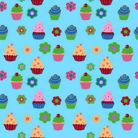 Cute seamless texture with ca upcakes and flowers and fruits