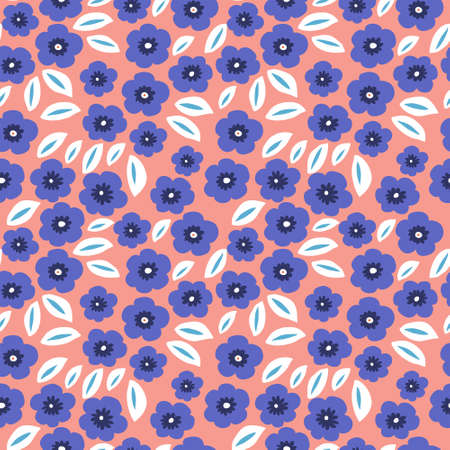 Floral pattern with a blue flowers on a pink background