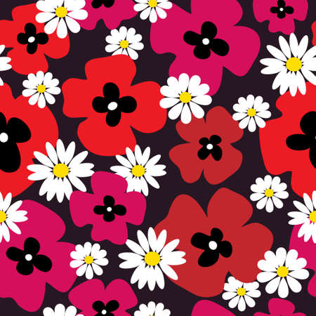Stylish floral background with a red poppies and daisies