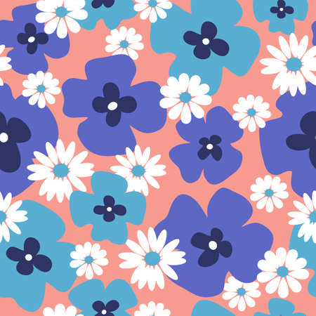 Stylish floral background with a blue poppies and daisies Иллюстрация
