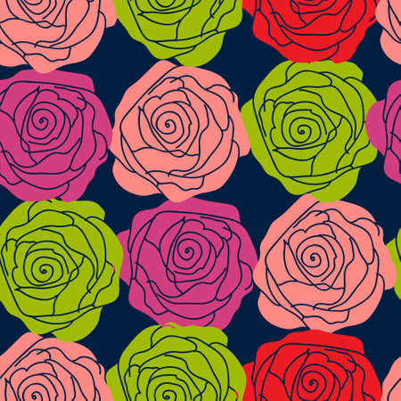 Stylish floral pattern with a roses on a dark background