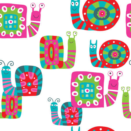Cute baby pattern with a snails on white background