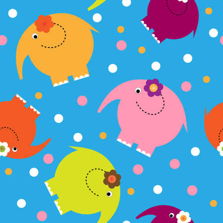 Cute baby pattern with a elephants on a blue background