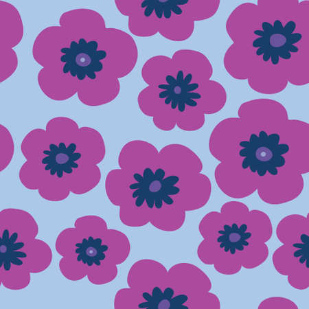 Floral stylish pattern with a pink poppies on a blue background