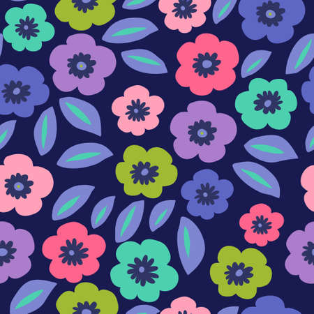 Flower pattern with a different poppies on a dark background Illustration