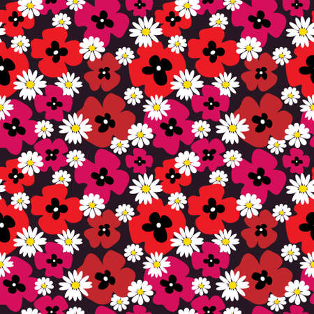 Floral seamless background with a poppies and daisies Illustration