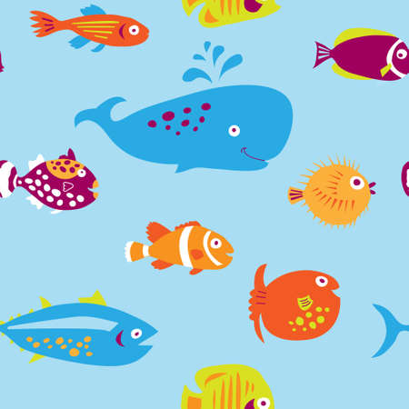 Cute seamless pattern with a multi-colored cartoon fishes