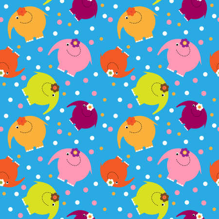 Cute seamless pattern with a multi-colored cartoon elephants