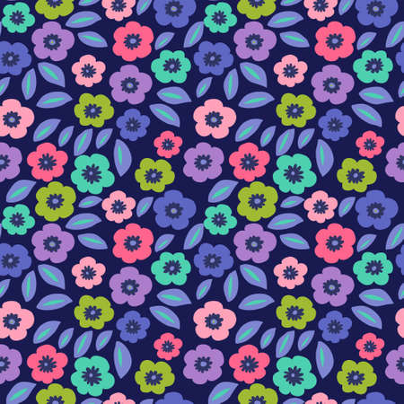 Stylish floral seamless pattern with a multi-colored poppies Illustration