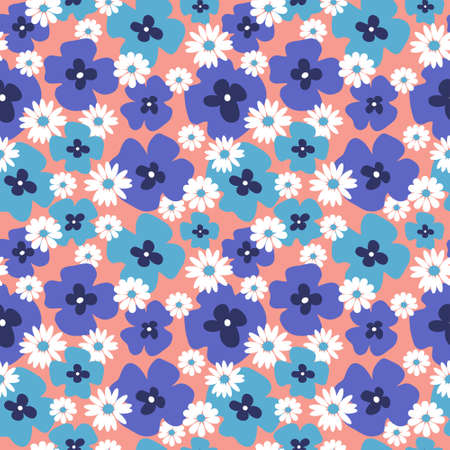 Stylish floral seamless background with a poppies and daisies