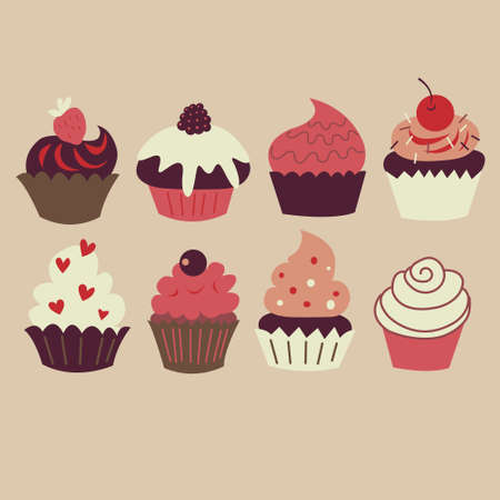 Collection of a sweet sweet cupcakes with cream Illustration