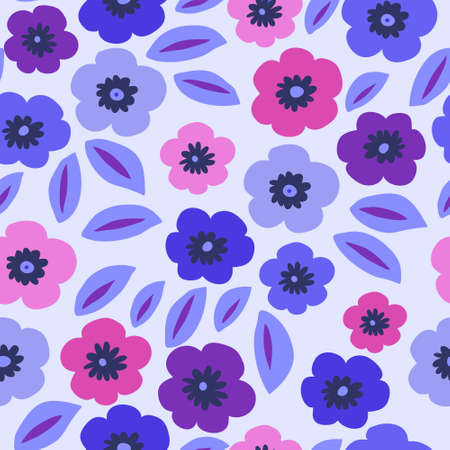Seamless floral background with a cute violets on a blue background