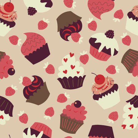 Seamless background with a cute cupcakes and strawberries