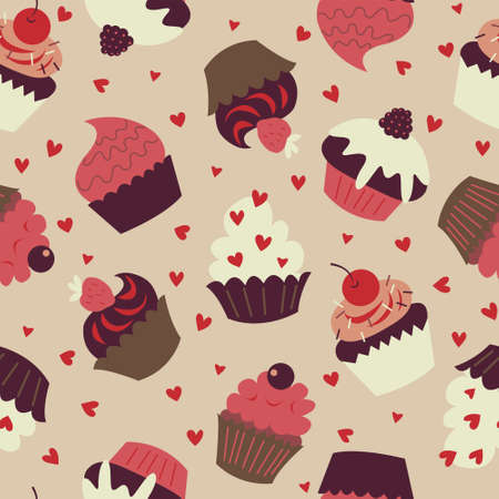 Seamless background with a cute cupcakes on a beige background