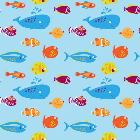 Modèle sans couture avec un poisson mignon sur fond bleu