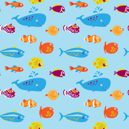 Seamless pattern with a cute fishes on a blue background