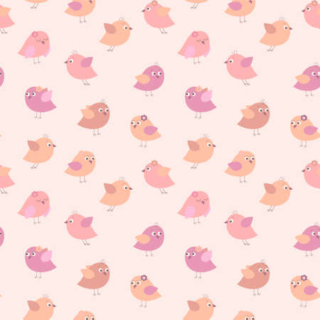 Seamless pattern with a cute birds on a pink background Иллюстрация