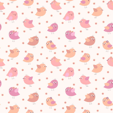 Seamless texture with a cute birds and flowers