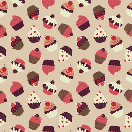 Cute seamless pattern with a lots of cupcakes Illustration