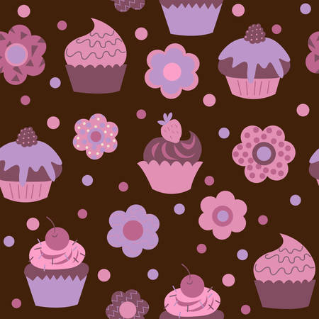 Cute child seamless background with a cupcakes and flowers Illustration