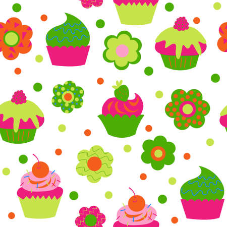 Cute baby seamless pattern with a cupcakes and flowers