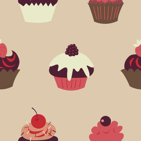 Cute children seamless pattern with a cupcakes and fruits Illustration
