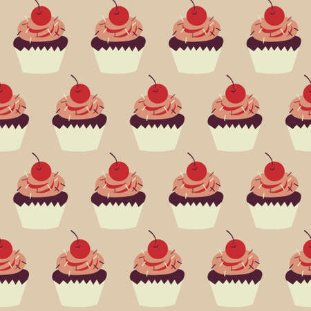 Cute children seamless pattern with a cupcakes and cherries
