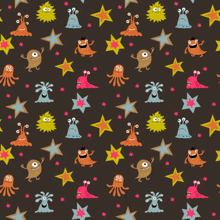 Cute baby seamless pattern with a different aliens Иллюстрация