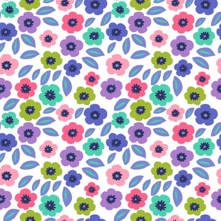 Cute floral seamless pattern on a white background