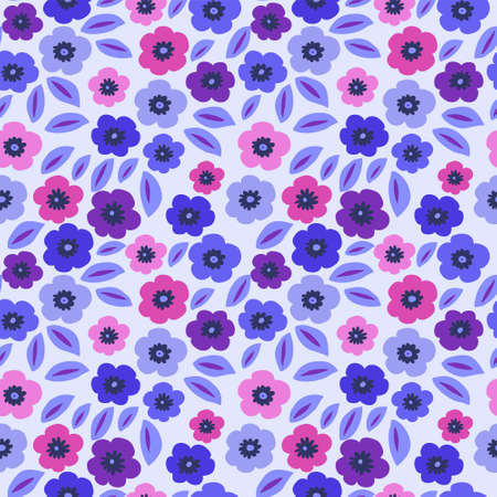 Cute seamless texture with a lots of flowers in blue