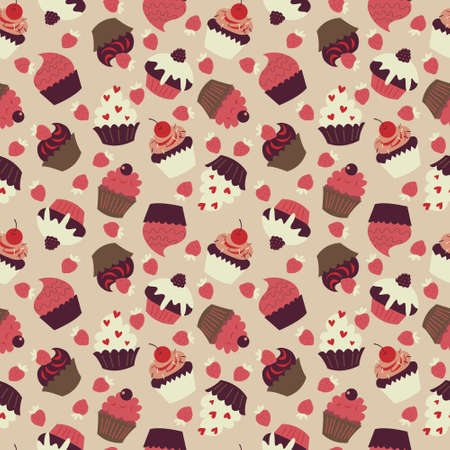 Cute seamless texture with a lots of cupcakes