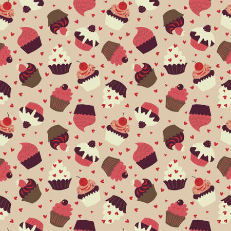 Cute seamless background with a lots of cakes Иллюстрация