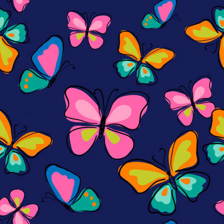 Seamless pattern with a cute butterflies on a blue background