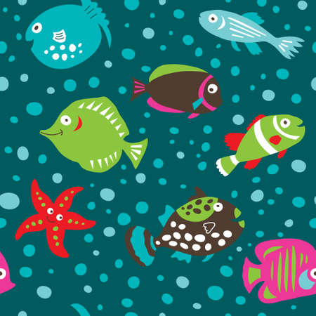 Seamless pattern with a cute cartoon fish on a green background Иллюстрация