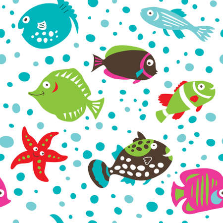 Seamless pattern with cute cartoon fish on a white background